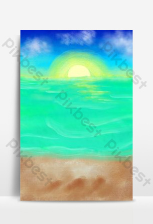 Beach, sea, sunrise, blue sky and white clouds Backgrounds Template PSD