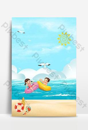 الصيف الكبير أربعة وعشرون مصطلحًا للطاقة الشمسية الشاطئ وعاء صغير الأصدقاء خلفية تجديف شاطئ البحر خلفيات قالب PSD