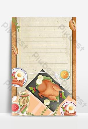 Affiche de fond rétro simple de dinde de Thanksgiving Fond Modèle PSD