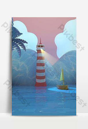 c4d seaside scene poster background Backgrounds Template PSD