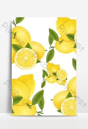 أدبية مرسومة باليد الليمون الإعلانات المطبوعة خلفيات قالب PSD