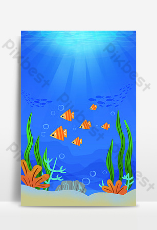 Cartoon cute sea animal poster background Backgrounds Template PSD