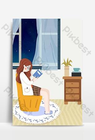 卡通手繪溫馨晚安問候插畫海報 背景 模板 PSD