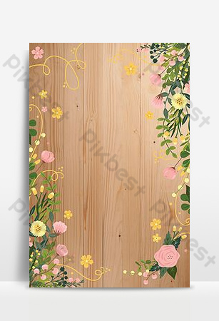 vektor papan kayu cat air bunga dan tanaman gambar latar belakang perbatasan Latar belakang Templat PSD