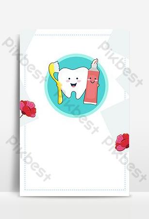 Dessin animé à la main dessiné jour de la dent d'amour pour la clinique dentaire de l'hôpital de stomatologie dentaire Fond Modèle PSD