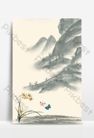 النمط الصيني العشب الأزرق فراشة اللوحة الصينية H5 صورة الخلفية خلفيات قالب PSD