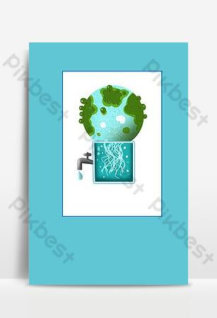 cálida imagen de fondo del cartel del ahorro de agua del recordatorio Fondos Modelo PSD