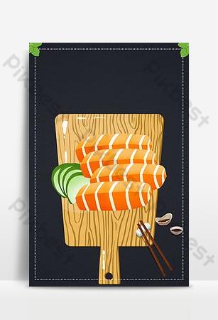 日本料理刺身三文魚背景圖像 背景 模板 PSD