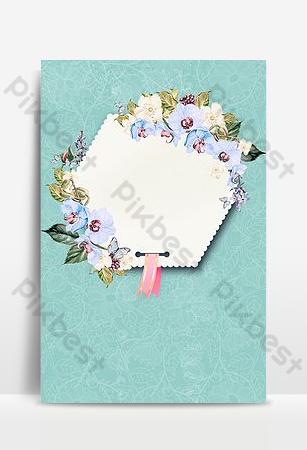 綠色文藝古風花卉簡約邊框印刷廣告 背景 模板 PSD