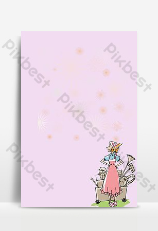Hand drawn cartoon housekeeping service advertising poster Backgrounds Template PSD