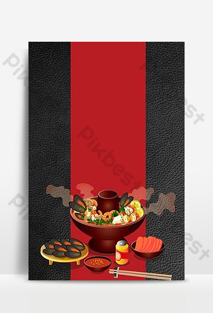 chinese food spicy seafood hot pot poster background Backgrounds Template PSD