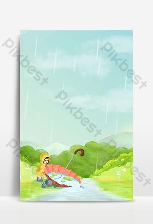 Valley Rain Season Landscape Pictures Backgrounds Template PSD