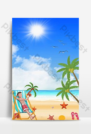 Illustration seaside tour hand-painted promotion Backgrounds Template PSD