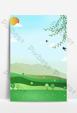 plantilla de fondo de cartel de festival de qingming de paisaje de color simple Fondos Modelo PSD