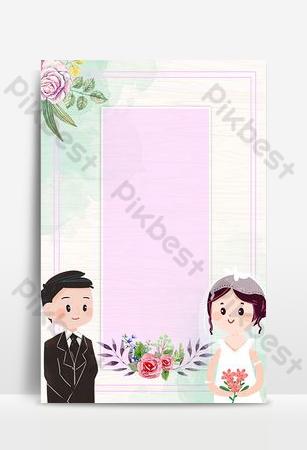我們結婚了藍色卡通婚禮海報 背景 模板 PSD