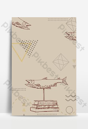 pescado salado personajes pintados a mano simple grano de papel literario retro h5 imagen de fondo Fondos Modelo PSD