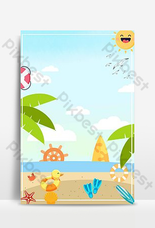 Seaside travel poster background image Backgrounds Template PSD