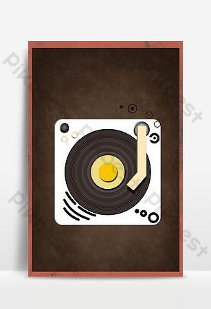 fondo de cartel de concierto de gramófono de viento pop retro psd Fondos Modelo PSD