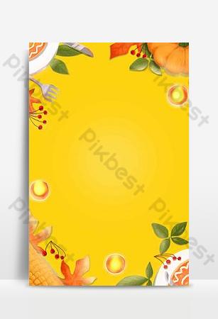 Bannière jaune dégradé simple de dinde de dessin animé de Thanksgiving Fond Modèle PSD