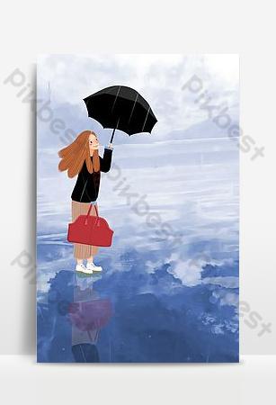 imagen de fondo de niña en tinta acuarela Fondos Modelo PSD