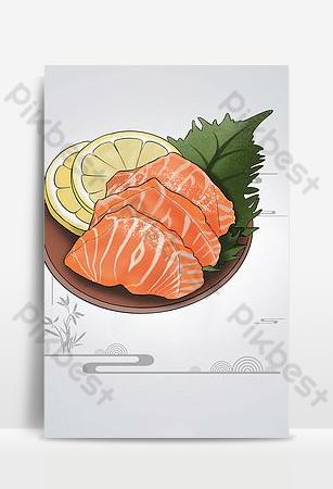 簡約時尚的日本三文魚食品海報背景 背景 模板 PSD
