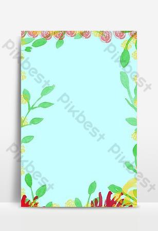 promoción de verano pequeño cartel floral fresco dibujado a mano enrollar plantilla de fondo Fondos Modelo PSD