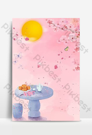 Carte de fond de décoration de pétale de gâteau de lune de festival de mi-automne Fond Modèle PSD