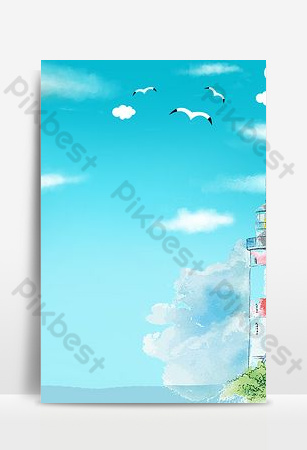 Sea blue seaside watchtower poster background image Backgrounds Template PSD