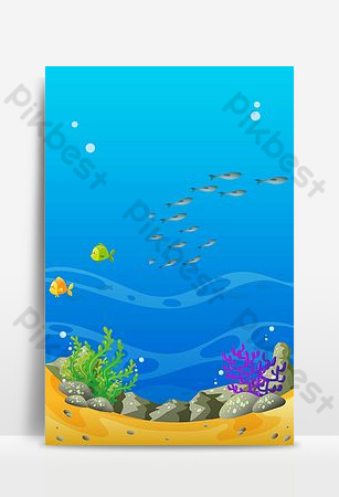Aquarium sea world poster background Backgrounds Template PSD
