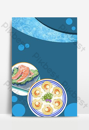 Gourmet poster restaurant poster painting cooking seafood blue poster background Backgrounds Template PSD