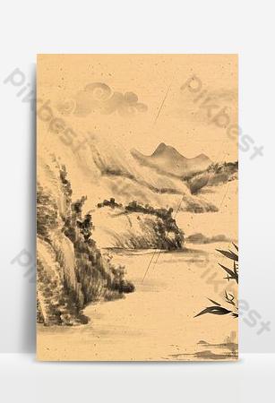 Ink phong cách cổ xưa kết cấu phong cách Trung Quốc làm việc đột quỵ hình nền Nền Bản mẫu PSD