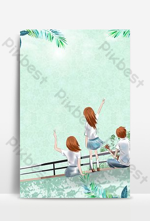 Creative youth graduation season hand-painted layout refreshing H5 background image Backgrounds Template PSD
