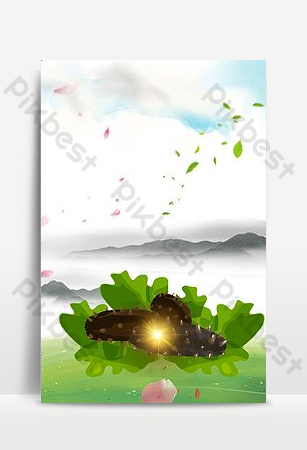 Sea cucumber leaflet poster background image Backgrounds Template PSD