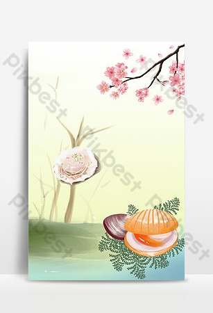 Delicious seafood scallop promotion background image Backgrounds Template PSD