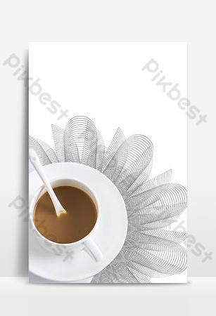 文藝清新手繪咖啡墊咖啡杯子背景圖片 背景 模板 PSD