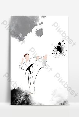 中國風武術課培訓招生廣告海報背景圖片 背景 模板 PSD