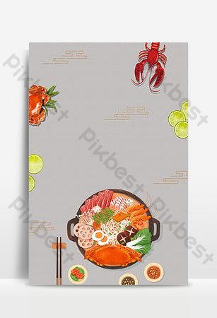 Seafood buffet white flat catering opening discount event poster Backgrounds Template PSD
