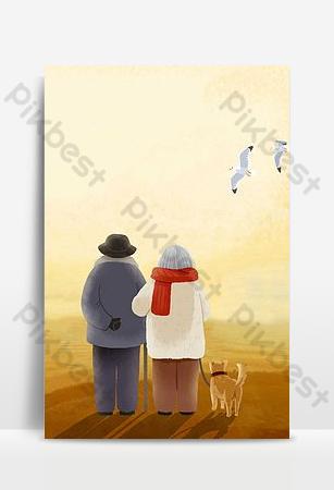 amante amor puesta de sol dibujos animados dibujados a mano ilustración antecedentes Fondos Modelo PSD