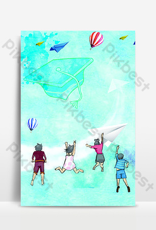 Campus creative poster background of the graduation season in a hurry Backgrounds Template PSD