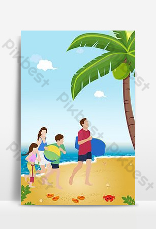 Fresh summer seaside tourism travel agency poster background template Backgrounds Template PSD