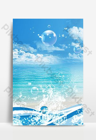 Colorful creative seaside surfing background Backgrounds Template PSD