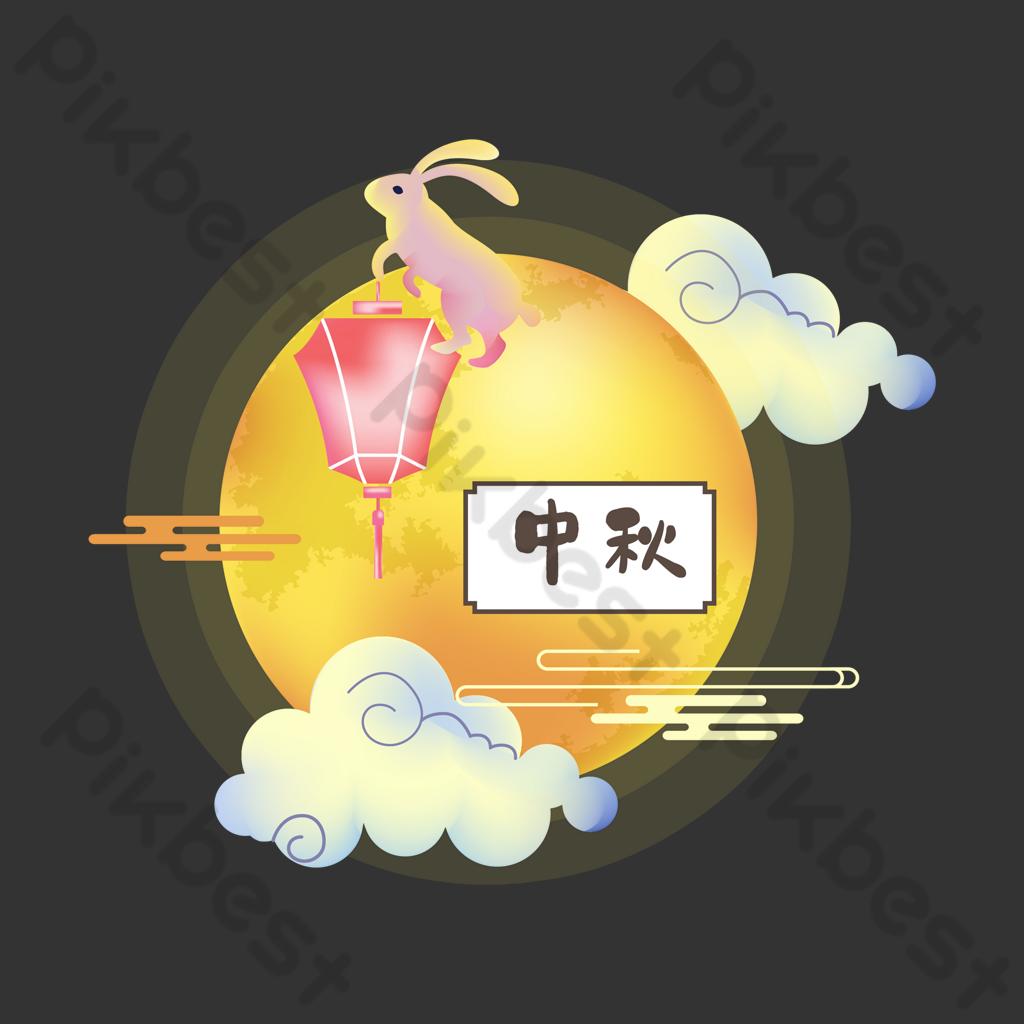 中秋月球月亮兔燈籠裝飾