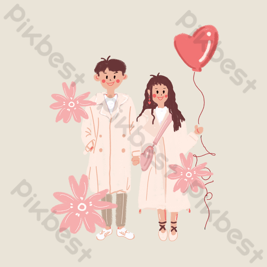 Valentines Day Couple Hand Drawn Cartoon Pink Cherry Blossom Balloon Love Free Download Png Images Psd Free Download Pikbest Awwww~ these lovers are too cute i love them so much i thunk this is works for a pagedoll too bigli migli. pikbest