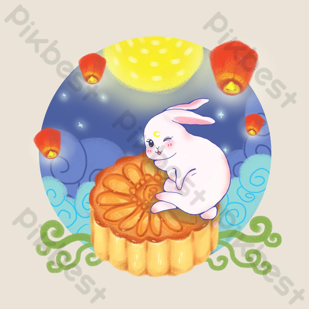 中秋節月餅和兔子