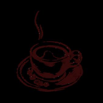 الهواء الساخن القهوة صورة ظلية الطوب رسمت باليد القهوة صور PNG قالب PSD