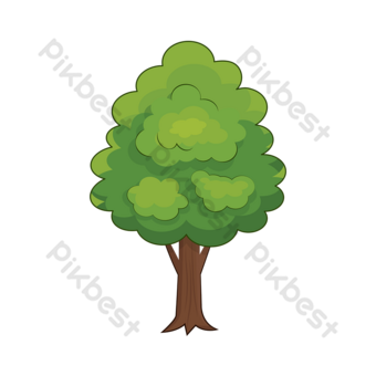 شجرة قصاصات فنية الكرتون الأخضر غابة كبيرة شجرة قطع صور PNG قالب AI