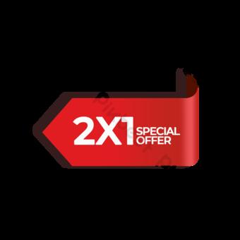 Tags de promoción de oferta especial de flecha roja Elementos graficos Modelo PSD