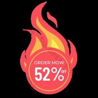 Corte de precios de llama roja 52 icono Elementos graficos Modelo PSD
