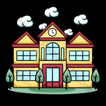 escuela de dibujos animados de edificio escolar Elementos graficos Modelo PSD