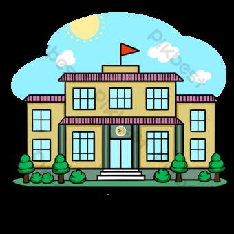 Campus de dibujos animados de edificio escolar Elementos graficos Modelo PSD